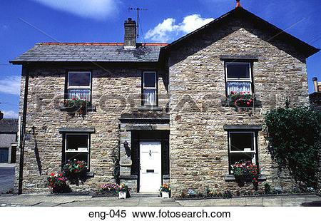 Stock Image of Stone Built House Yorkshire England UK eng.