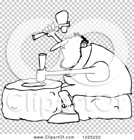 Clipart of an Outlined Genius Caveman Carving a Stone Wheel.