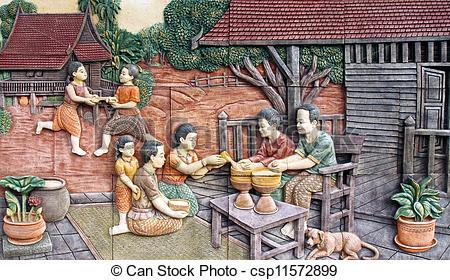 Stock Photographs of Thai culture of Songkran festival stone.