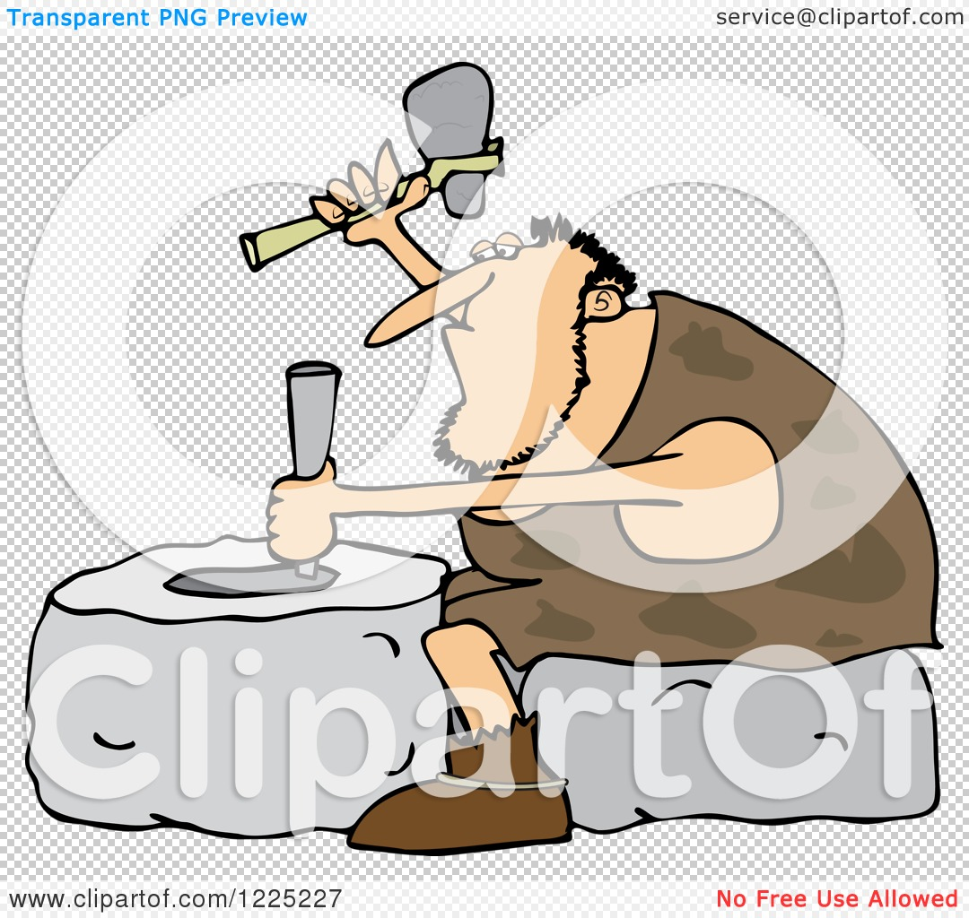 Clipart of a Genius Caveman Carving a Stone Wheel.