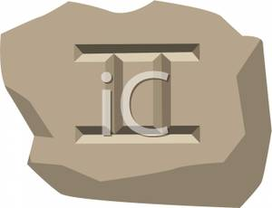 Zodiac Sign For Gemini Carved Into Stone Clipart Picture.
