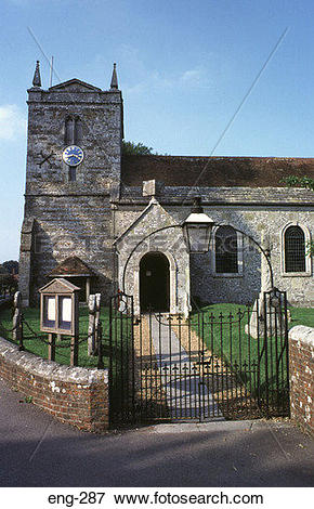 Picture of 'Restored' Medieval Stone Church Wessex England eng.