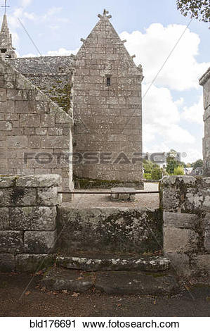 Stock Photography of Ancient stone church and courtyard bld176691.