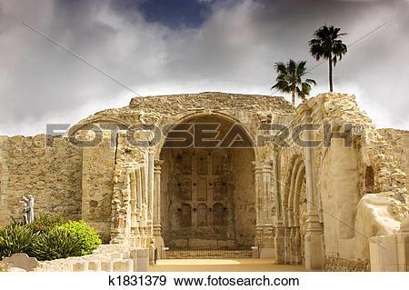 Stock Photograph of Mission San Juan Capistrano Stone Church.