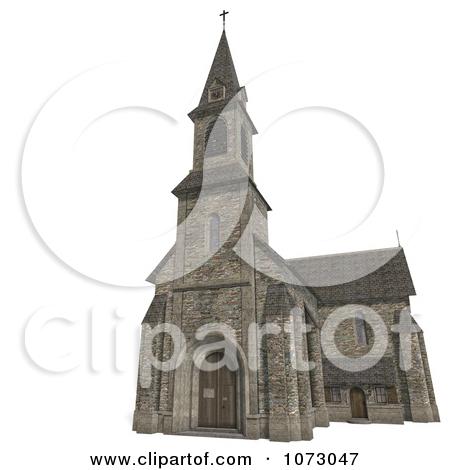 Clipart 3d Historic Stone Church Building 1.