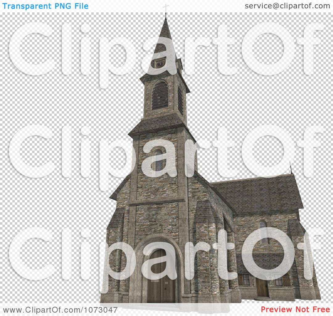 Clipart 3d Historic Stone Church Building 4.