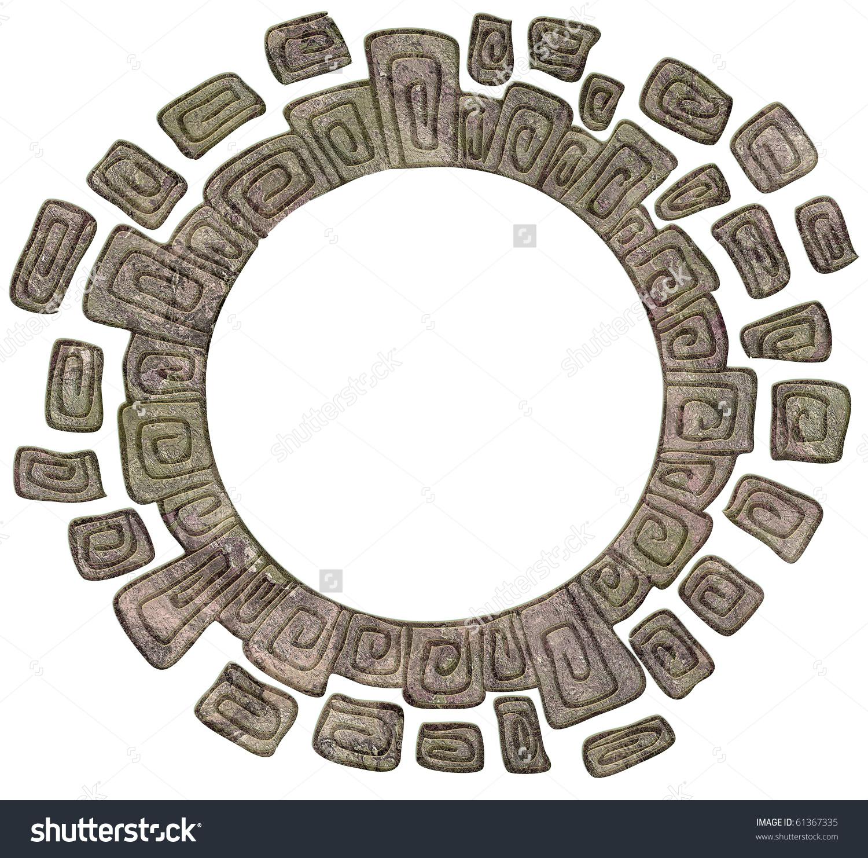Stone Circle Frame Isolated Stock Illustration 61367335.