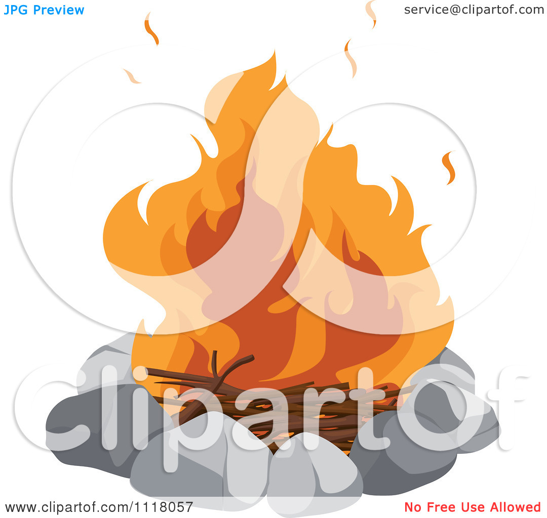 Vector Clipart Of A Blazing Camp Fire In A Stone Circle.