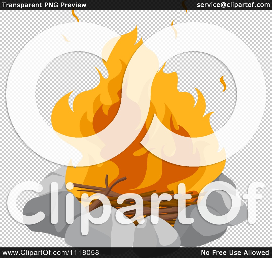 Vector Clipart Of A Camp Fire In A Stone Circle.