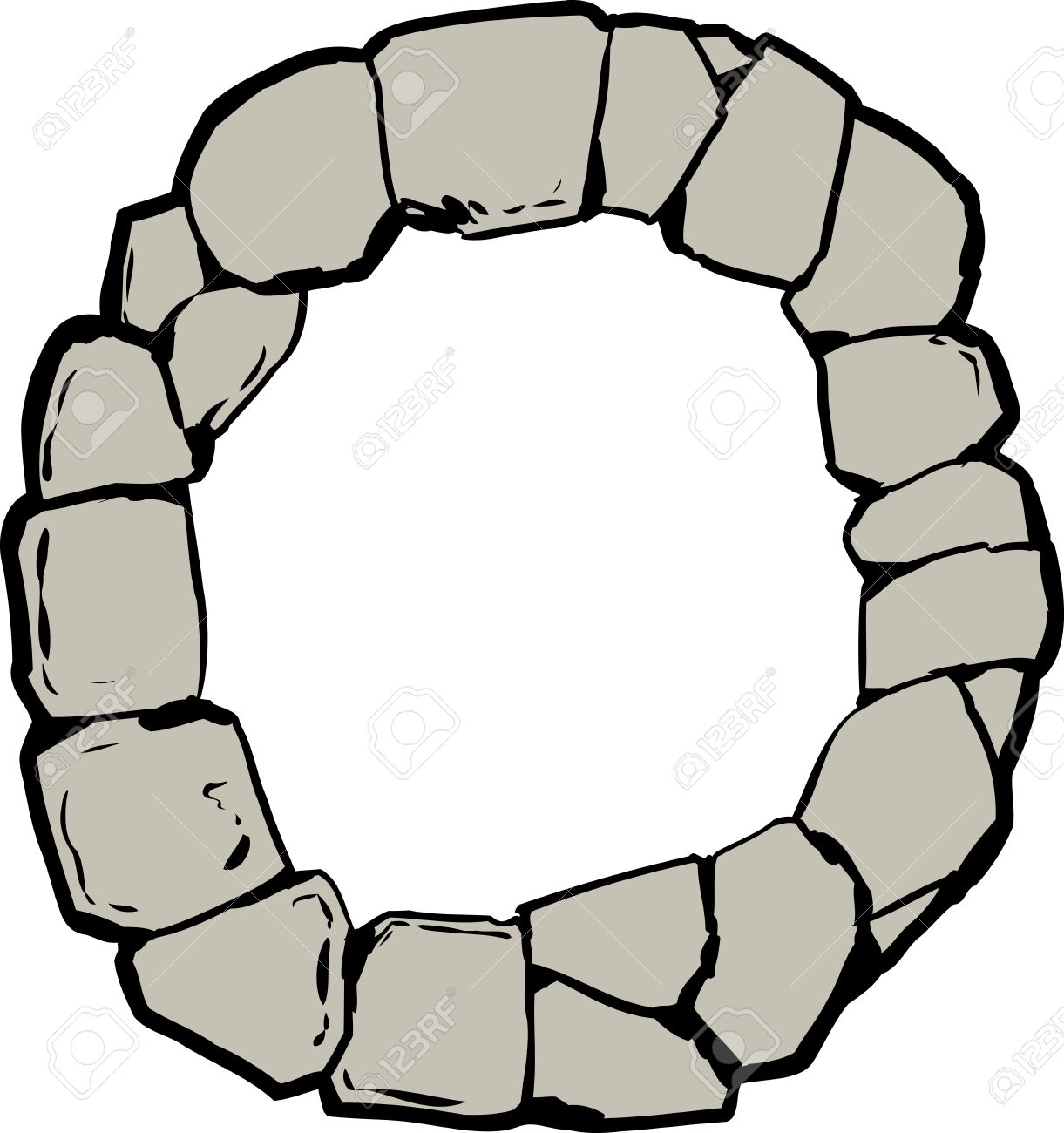 Top Down View On Old Stone Ring For Well Or Letter O Royalty Free.