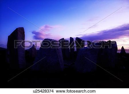 Stock Photo of Stone circle near Blacksod Point, Co Mayo, Ireland.