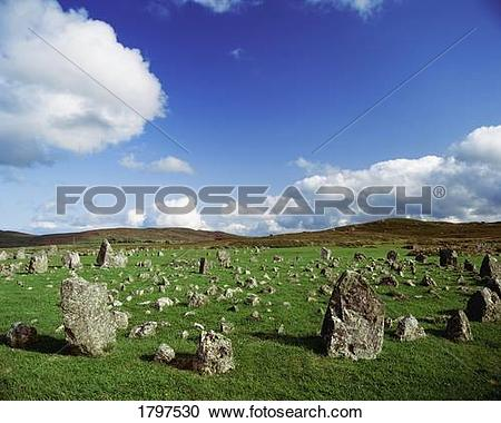 Stock Photography of Stone Circles On A Landscape, Beaghmore Stone.