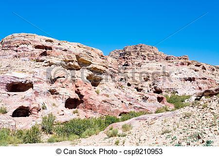 Stock Photos of Old caverns in ancient stone city Petra, Jordan.