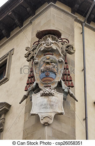 Stock Images of Medici family stone coat of arms in Florence.