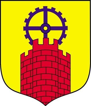 Castle bricks stone towers arrows coat arms free vector download.