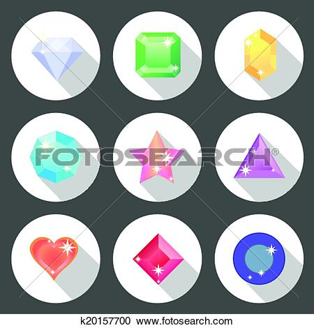 Clipart of Gem stone flat color icons with long shadow k20157700.