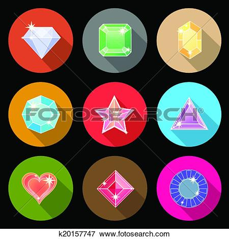 Clip Art of Gem stone cutting flat color icons with long shadow.