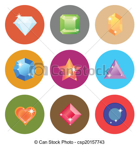 EPS Vector of Gem stone flat color icons on white background.