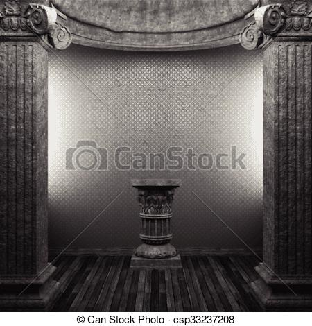 Vector Clipart of vector stone columns, pedestal and wallpaper.