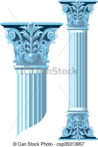 Clipart Vector of Ancient stone columns whose height is easy to.