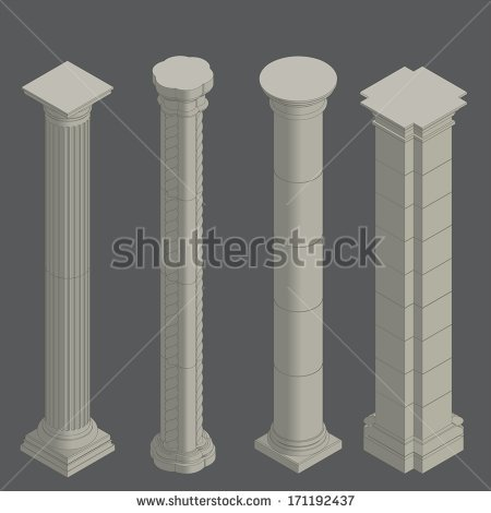 Classical Stone Columns Vector Set , Isometric.
