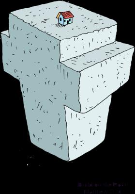 Image: House Built on Large Stone Cross.