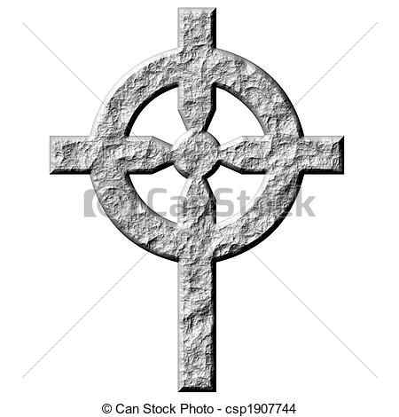 Drawing of 3D Stone Celtic Cross.