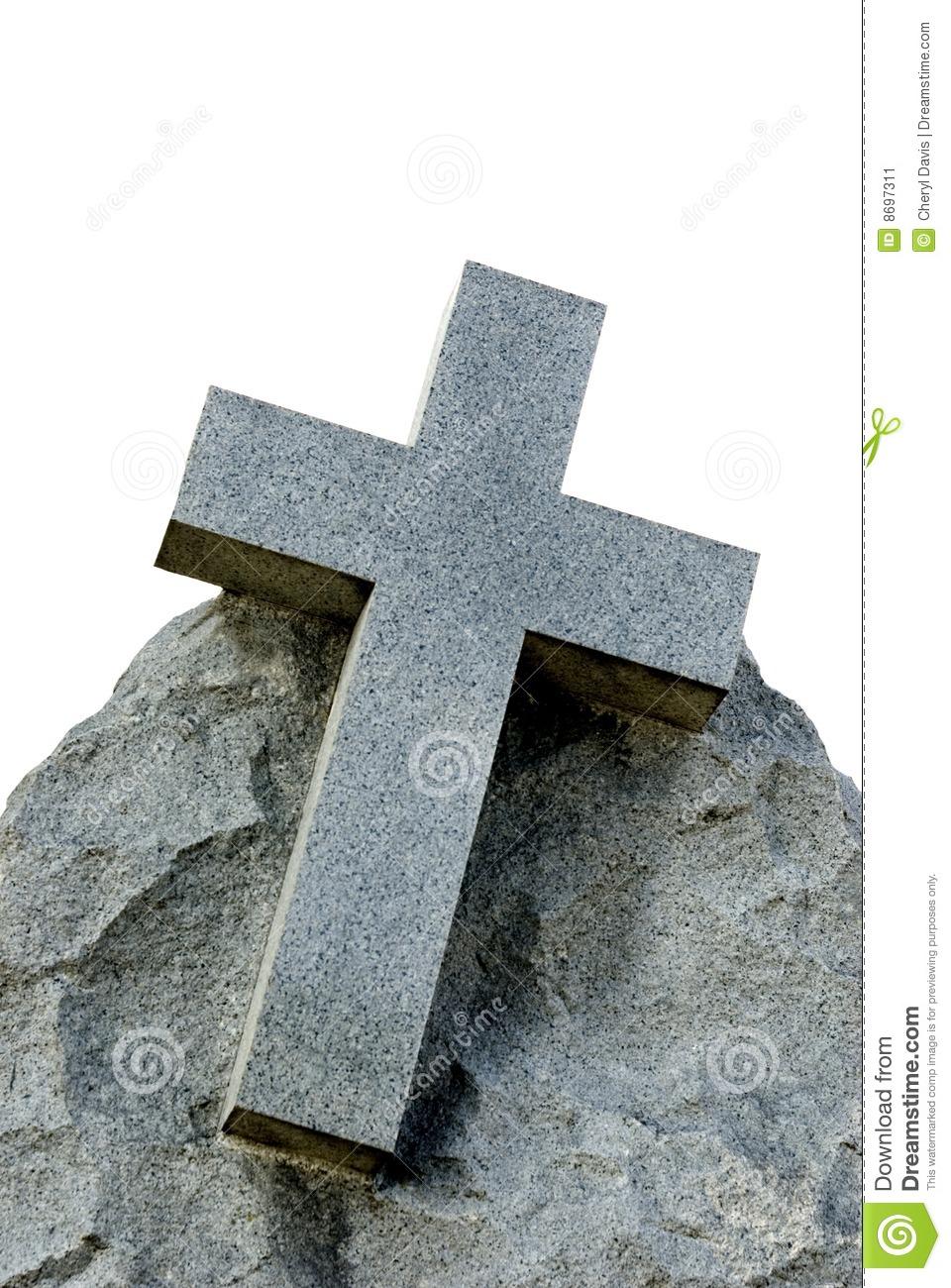 Large Stone Cross White Background Stock Image.