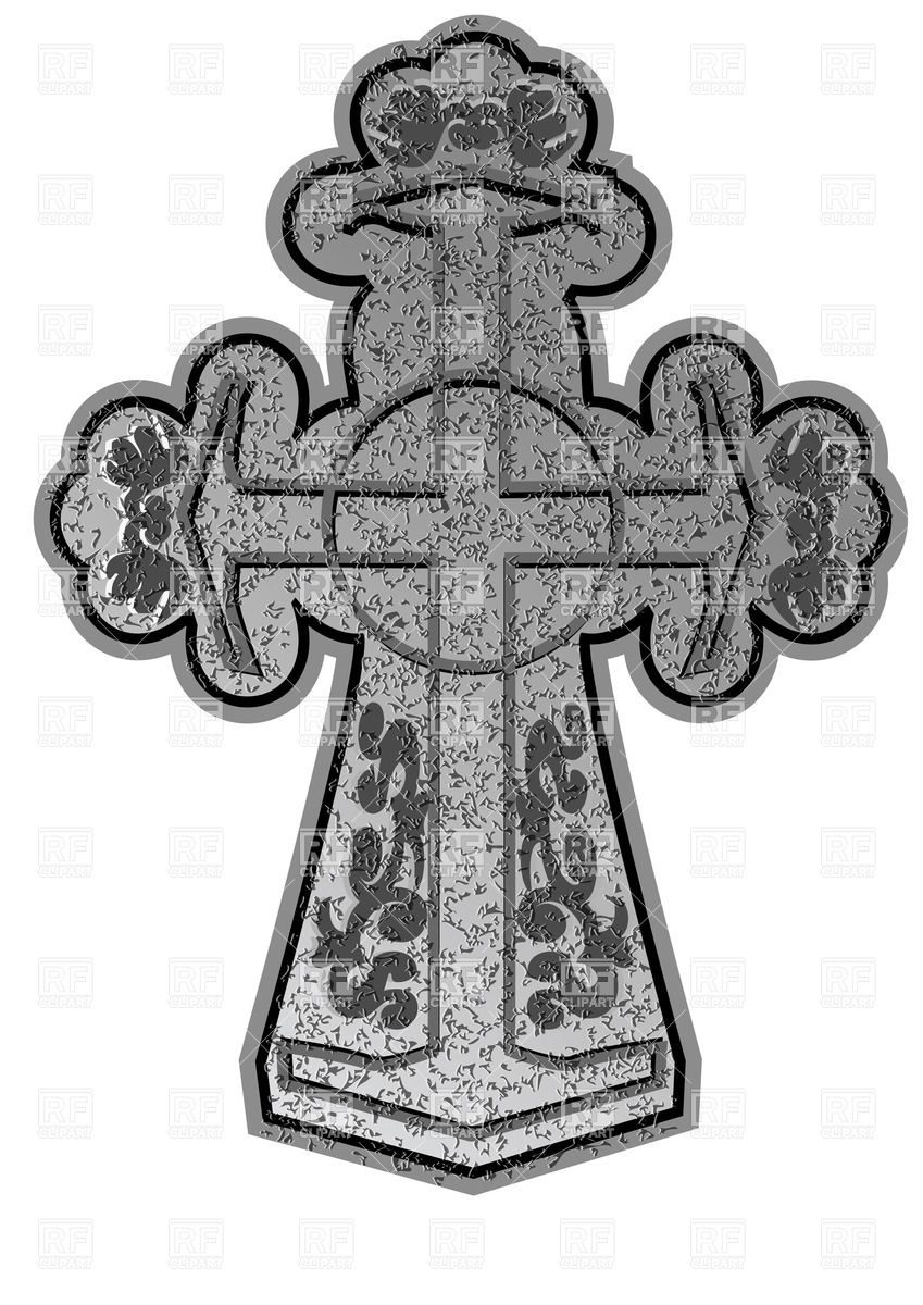 Ancient christian stone cross with ornament Vector Image #35931.