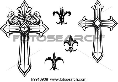 Clip Art of Vintage stone cross k9916908.