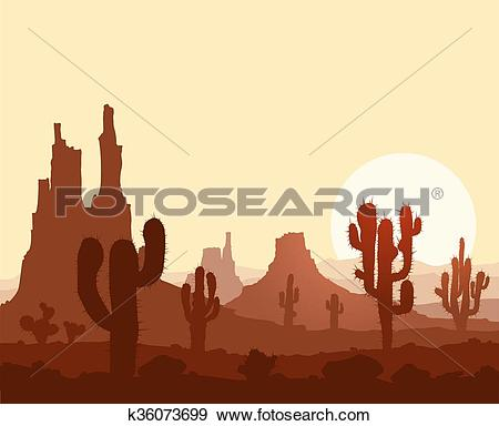 Clip Art of Sunset in stone desert with cactuses and mountains.