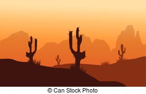 Sunset in stone desert with cactuses and mountains Clipart Vector.