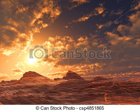 Stock Images of Stone Desert Sunset csp4851865.