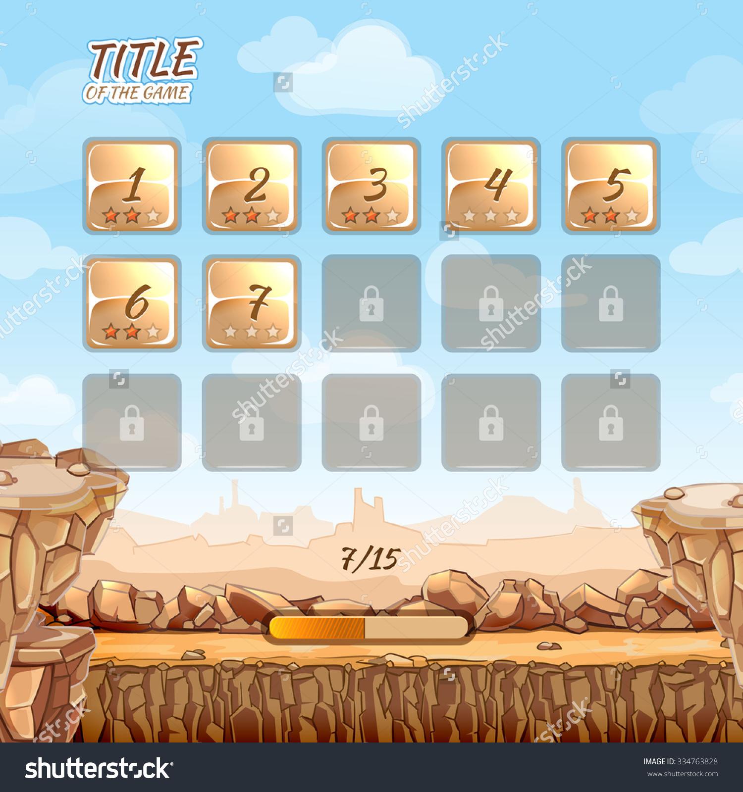 Stone Rocks Desert Game Background User Stock Vector 334763828.