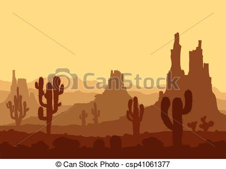 Vectors Illustration of Sunset in stone desert with cactuses and.