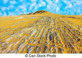 Stock Photos of stone desert im Yemen near Marib under blue sky.