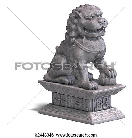 Stock Illustration of stone chinese foo dog k2448346.