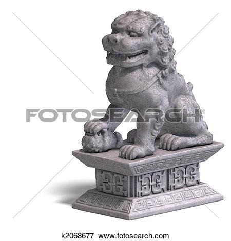 Stock Illustration of stone chinese foo dog k2068677.