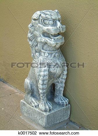 Stock Photo of Chinese Stone Dog k0017502.