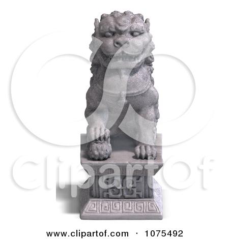 Clipart 3d Stone Fu Dog Statue 4.