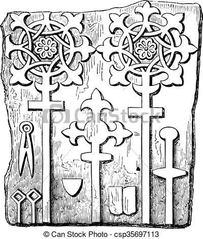 Vector Clip Art of Tomb stone, Fourteenth century, Darlington.