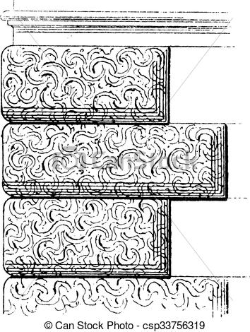 Vector Clip Art of Vermiculated Stone Work, vintage engraving.