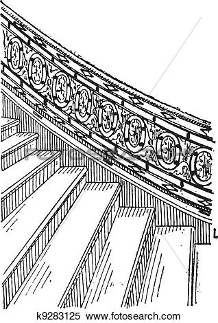 Clipart of Stone Staircase made of Silt, vintage engraving.