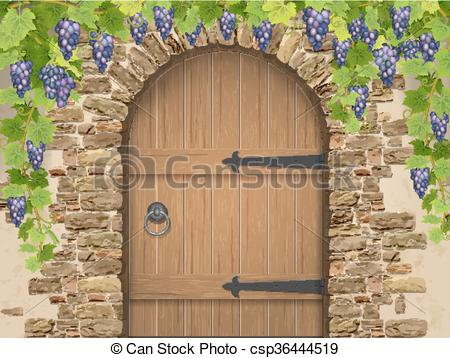 Vector Clip Art of Arch of stone grapes and wooden door.