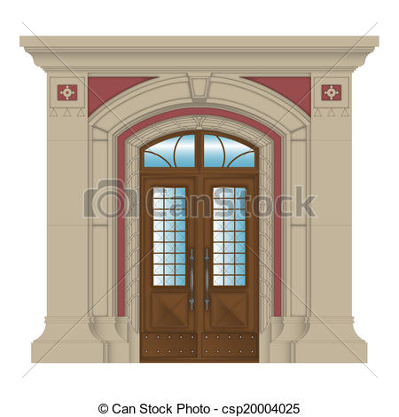 Clip Art of vector image, stone entrance of house.
