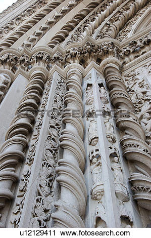 Stock Photography of detail of exterior facade of San Fortunato.