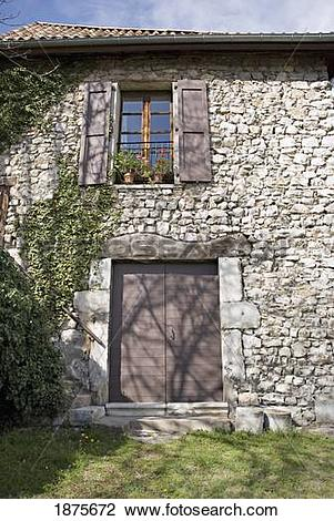 Stock Photo of Grenoble, Isère, France; Stone Facade Of An Old.