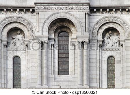 Stock Photo of Stone facade windows.