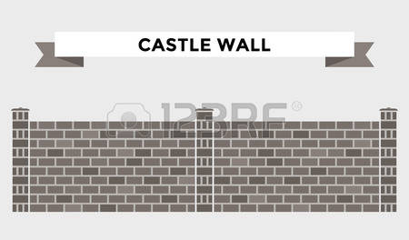 Stone Castle Wall Outline Clipart.