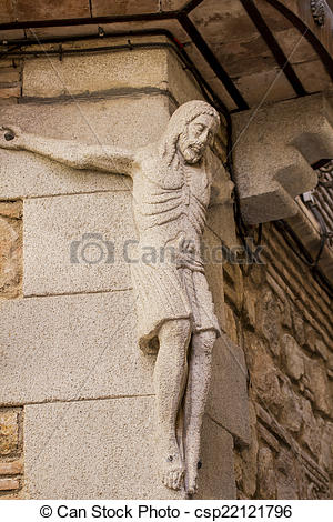 Stock Photographs of carved stone figure of Jesus Christ in the.